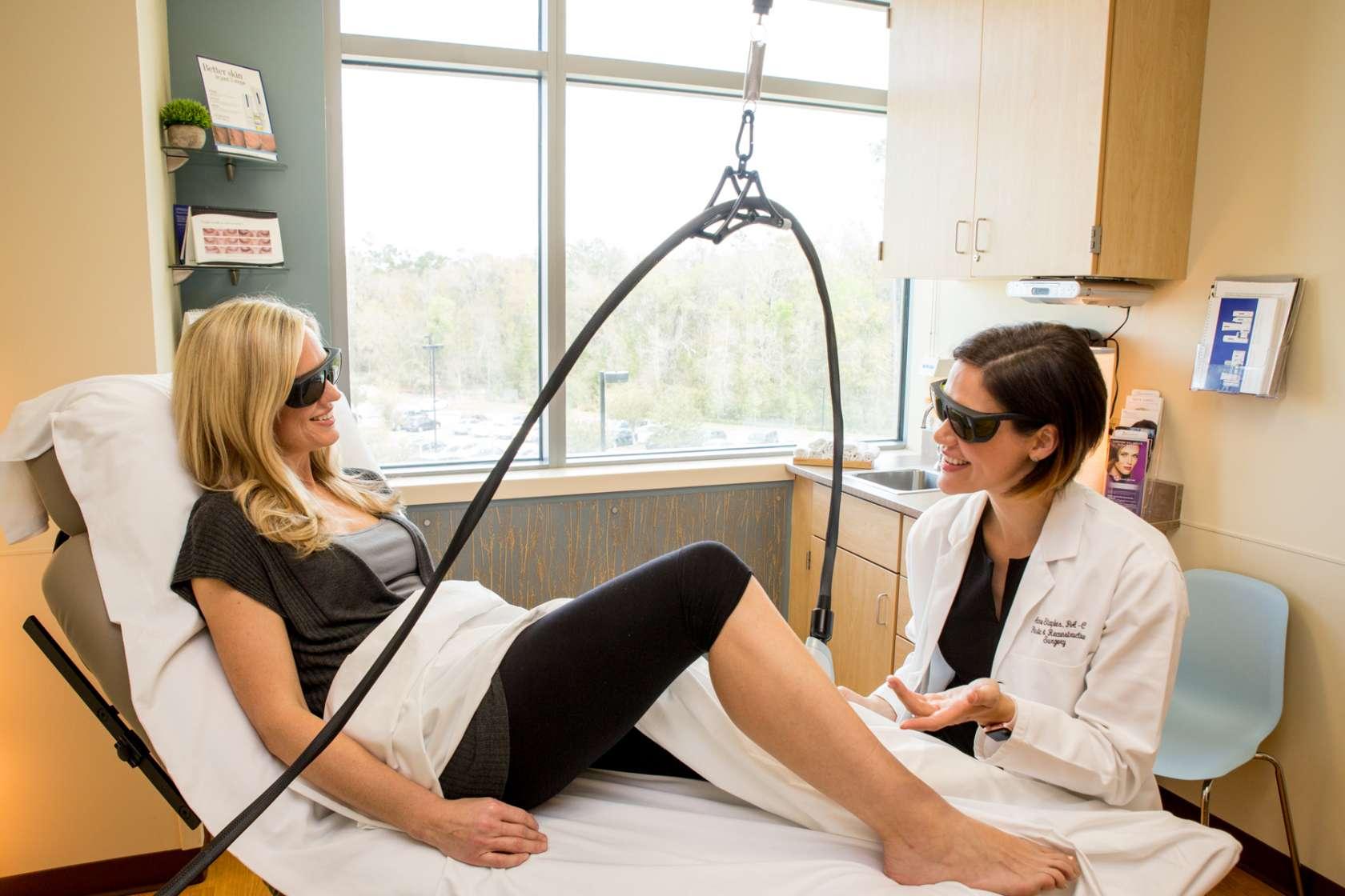 Woman having a leg procedure done